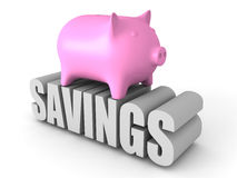 Piggy Geld-Bank auf SPAREINLAGEN Wort Die goldene Taste oder Erreichen für den Himmel zum Eigenheimbesitze Lizenzfreies Stockbild