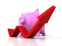 Piggy Geld-Bank mit dem Heranwachsen des steigenden Pfeiles Lizenzfreie Stockfotos