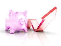 Piggy Geld-Bank mit dem Heranwachsen des steigenden Pfeiles Erfolg Investmen Lizenzfreie Stockfotografie