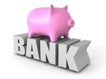 Piggy Geld-Kasten auf BANK Wort Die goldene Taste oder Erreichen für den Himmel zum Eigenheimbesitze Stockfotografie