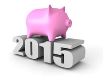 Piggy Geld-Münzen-Bank-2015 Jahr-Zahlen Die goldene Taste oder Erreichen für den Himmel zum Eigenheimbesitze Stockbilder