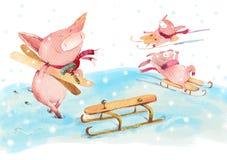 Piggy glädje i vinter royaltyfri illustrationer