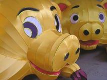 piggy gladlynt kinesiska lyktor Arkivbilder