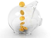 Piggy Glasquerneigung getrennt auf weißem Hintergrund Lizenzfreie Stockfotos