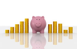 Piggy with Gold Coin Royalty Free Stock Image