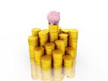 Piggy with Gold Coin Stock Photos