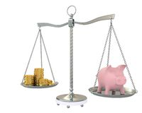 Piggy and gold coins on the scale Stock Photos