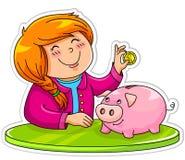 Piggy grupp stock illustrationer