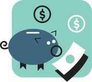 Piggy grupp och pengar Vektor Illustrationer