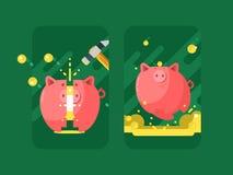 piggy grupppengar stock illustrationer