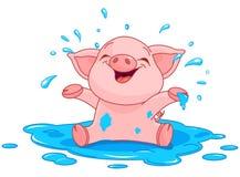 Piggy i en pöl royaltyfri illustrationer