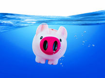 Piggy i vattnet Royaltyfri Bild