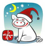 piggy jul vektor illustrationer