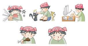 Piggy Jungenkarikaturikone in der verschiedenen Aktion stellte 6 ein Lizenzfreie Stockfotografie