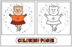 Piggy kleuren - kunstschaatsen Royalty-vrije Stock Fotografie