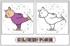 Piggy kleuren - schaatser Stock Foto