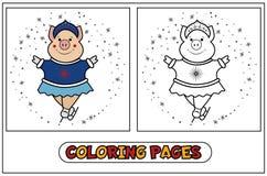 Piggy kleuren - Sneeuwmeisje op vleten Stock Fotografie