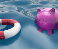 Piggy With Lifebuoy Shows Investing In Lifesaver Royalty Free Stock Images