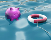 Piggy With Lifebuoy Shows Life Savings Protected Stock Photos