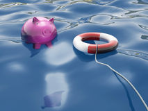 Piggy With Lifebuoy Shows Lifesaver And Investment Stock Photos