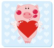 Piggy in love. Pig with Heart Shape. Vector illustration to Valentine's Day Royalty Free Stock Image