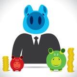 Piggy Männer mit der Querneigung zwei klein und groß mit Geld stock abbildung