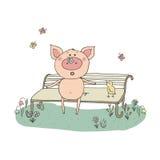 Piggy met een vlinder op zijn neus Stock Afbeeldingen