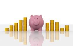 Piggy met Gouden Muntstuk Royalty-vrije Stock Afbeelding