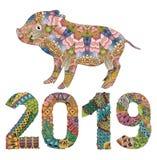 Piggy met nummer 2019 voor volwassenenvector stock illustratie