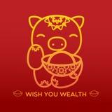 PIGGY MET RIJKDOM royalty-vrije stock afbeelding