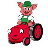 Piggy met Tractor Royalty-vrije Stock Afbeeldingen