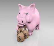 Piggy met zakken geld Royalty-vrije Stock Foto's