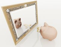 Piggy at the mirror Stock Images