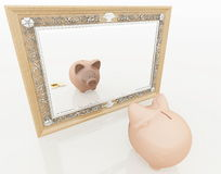 Piggy at the mirror Royalty Free Stock Photography
