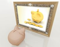 Piggy at the mirror Royalty Free Stock Photo