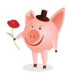 Piggy mit Blume Stockbild