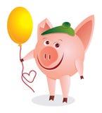 Piggy mit dem bal lizenzfreie abbildung