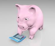Piggy mit einem Taschenrechner lizenzfreie abbildung