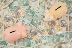 Piggy mit Geld Lizenzfreies Stockfoto