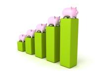 Piggy money bank bar chart finance concept Stock Photography
