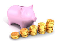 Piggy money bank with golden dollar coins chart Stock Photos