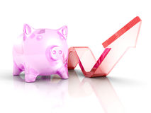 Piggy Money Bank With Growing Up Rising Arrow. Success Investmen Royalty Free Stock Photography