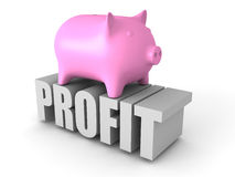 Piggy Money Bank on PROFIT Word. Business Concept Royalty Free Stock Photos