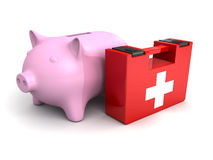 Piggy money bank with red medical kit. 3d Stock Images