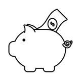 Piggy money bill dollar safety icon outline Royalty Free Stock Image