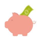 Piggy money bill dollar safety icon. Vector illustration eps 10 Royalty Free Stock Photo