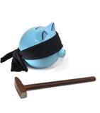 Piggy money box. The last day of your piggy money box. Ask him the last desire stock photos