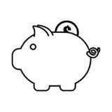 Piggy money coin dollar outline Royalty Free Stock Photos