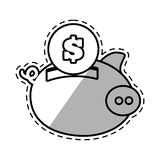 Piggy money safety bank cut shadow Royalty Free Stock Photo