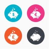 Εικονίδια τραπεζών Piggy Δολάριο, ευρώ, λίβρα moneybox Στοκ Φωτογραφίες